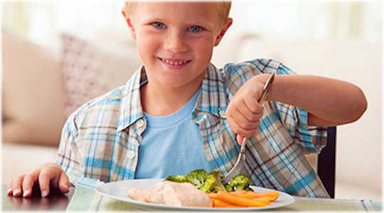 boy eating a healthy meal