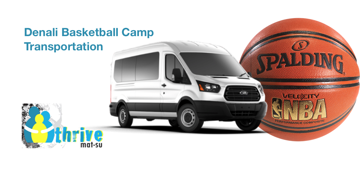 Thrive Mat-Su Logo with a bus and basketball