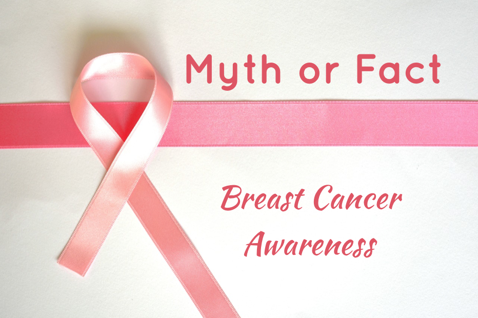 Pink ribbon with text that reads breast cancer awareness myth or fact