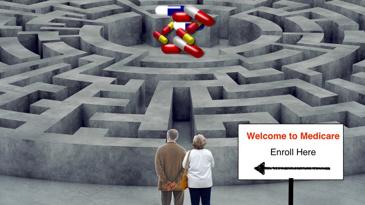 Maze with elderly couple outside and pills in the middle