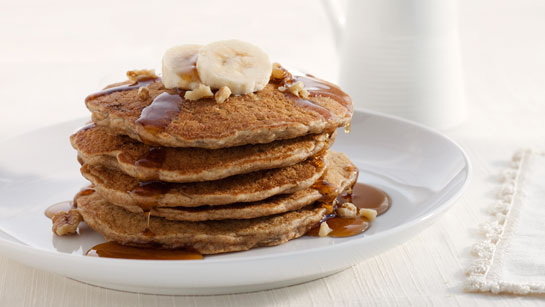 stack of banana walnut pancakes