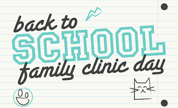 notebook page with back to school family clinic day written on it