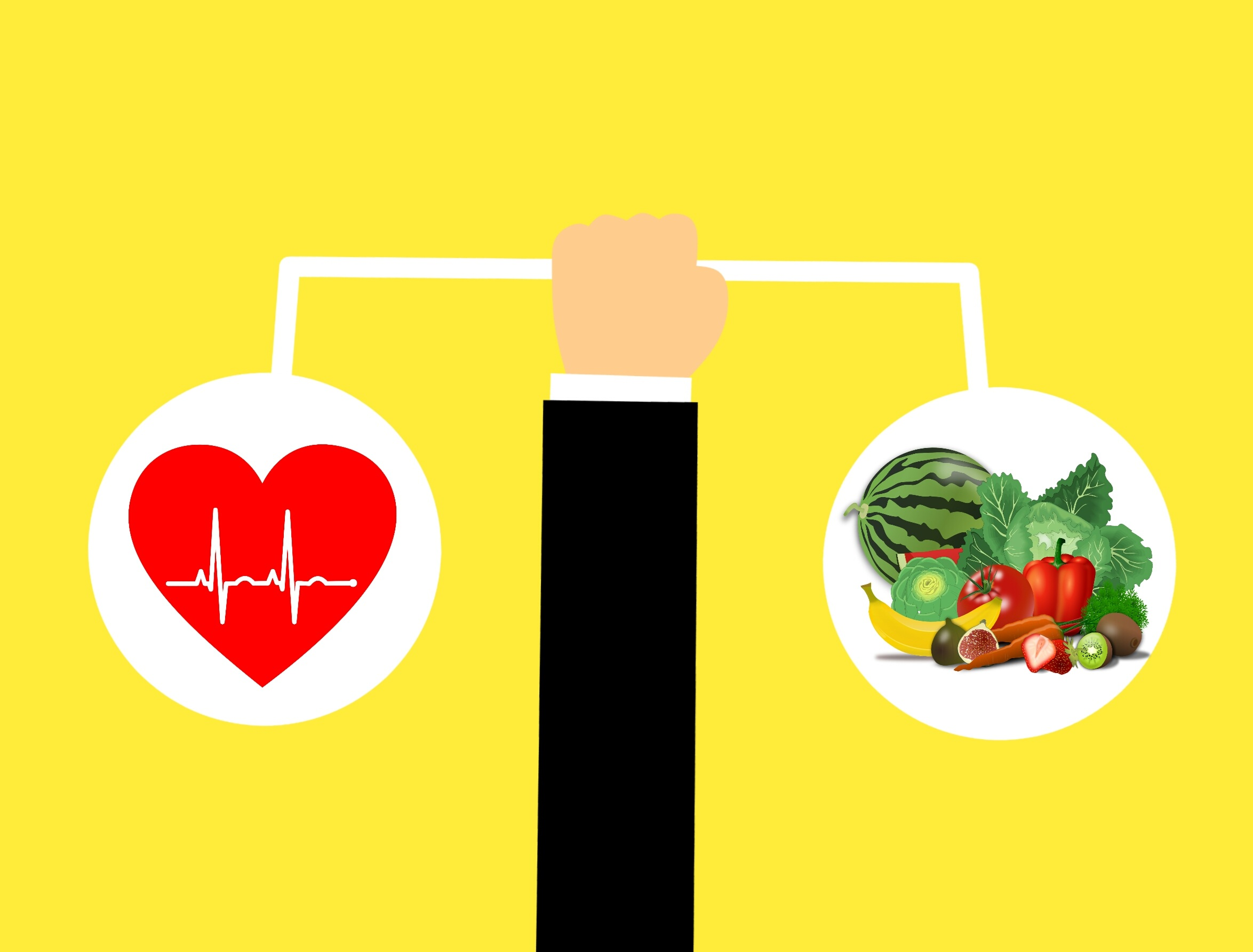 Cartoon hand holding a scale with heart on one side and vegetables on the other