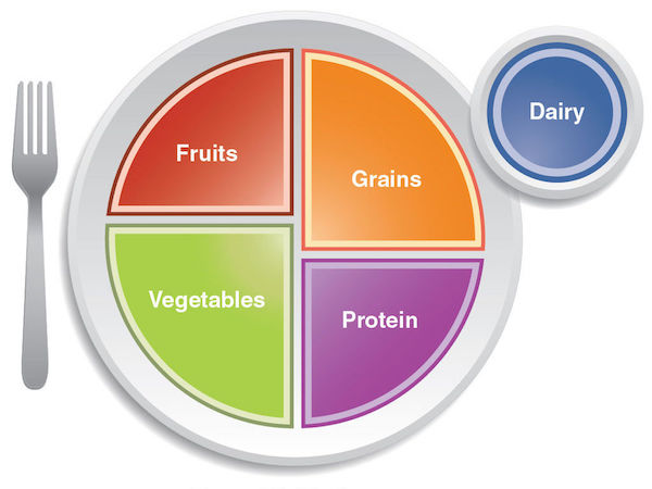cartoon plate with divisions for fruits, grains, protein and vegetables