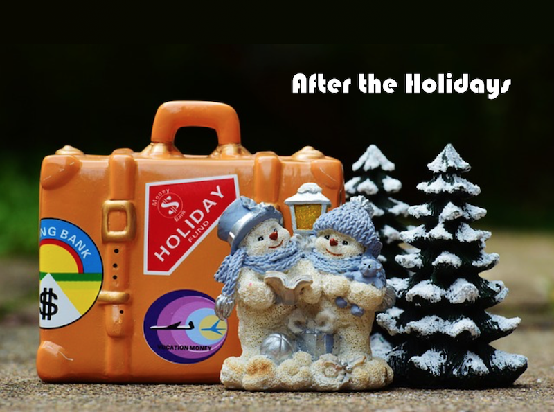 minature suitcase, snowman and snow covered trees with test that says after the holidays