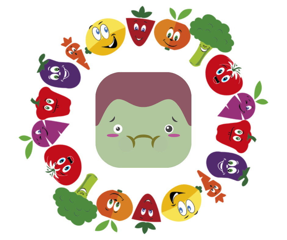 cartoon face with vegetables around it
